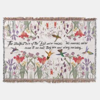 Hummingbird Birds Flowers Scripture Throw Blanket