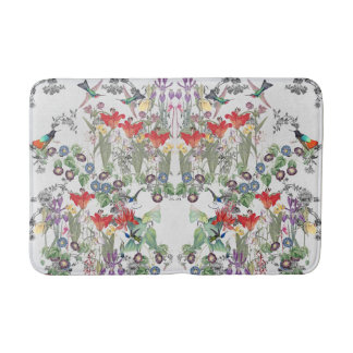 Hummingbird Birds Flowers Wildlife Bath Mat