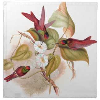 Hummingbird Birds Flowers Wildlife Floral Animals Printed Napkins