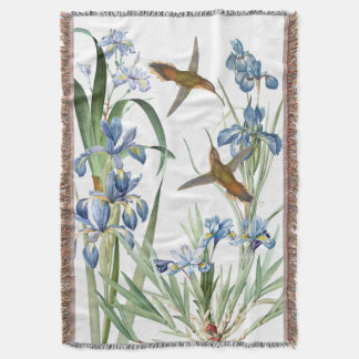Hummingbird Birds Iris Flowers Floral Garden Throw
