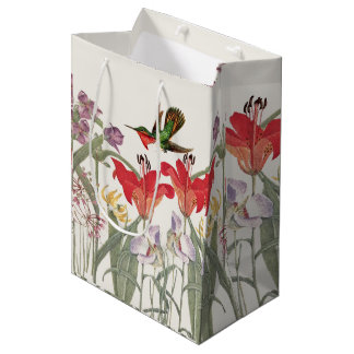 Hummingbird Birds Lily Flowers Garden Gift Bag