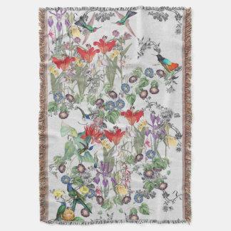 Hummingbird Birds Lily Iris Flowers Throw Blanket