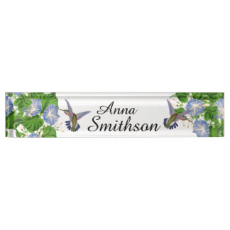 Hummingbird Birds Morning Glory Flowers Floral Desk Name Plates