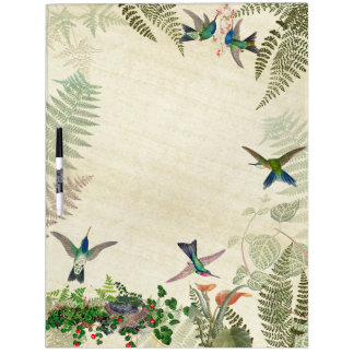 Hummingbird Birds Nest Fern Floral Dry Erase Board