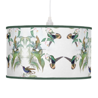 Hummingbird Birds Orchid Flowers Hanging Lamp