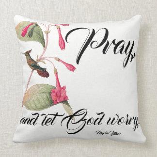 Hummingbird Birds Pink Flowers Pray Throw Pillow