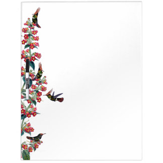 Hummingbird Birds Red Flowers Dry Erase Board