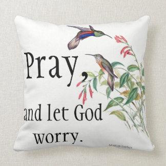 Hummingbird Birds Red Flowers Pray Throw Pillow