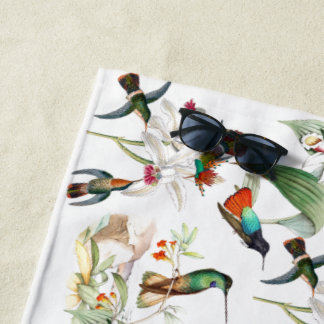 Hummingbird Birds Tropical Flowers Beach Towel