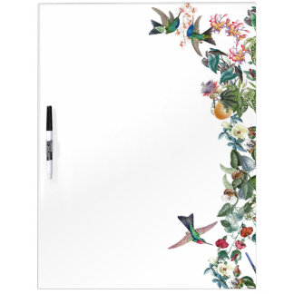 Hummingbird Birds Tropical Flowers Dry Erase Board