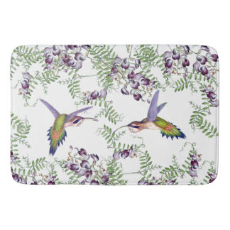 Hummingbird Birds Wildflower Flowers Bath Mat