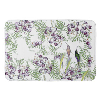 Hummingbird Birds Wildflower Flowers Bath Mat
