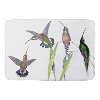 Hummingbird Birds Wildlife Animals Bamboo Leaves Bathroom Mat