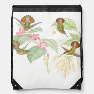 Hummingbird Birds Wildlife Animals Flowers Drawstring Backpack