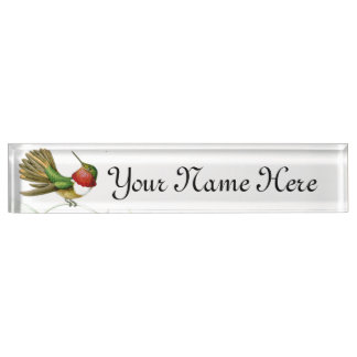 Hummingbird Birds Wildlife Animals Flowers Floral Name Plate