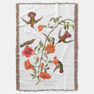 Hummingbird Birds Wildlife Audubon Throw Blanket
