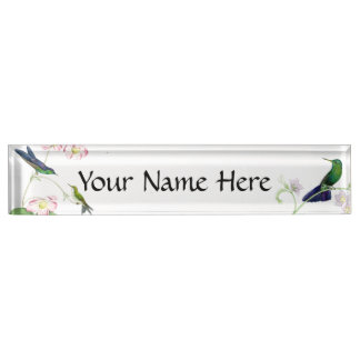 Hummingbird Birds Wildlife Flowers Animals Floral Desk Name Plate