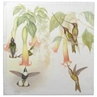 Hummingbird Birds Wildlife Flowers Animals Floral Printed Napkin