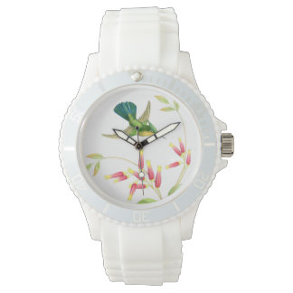 Hummingbird Birds Wildlife Flowers Animals Floral Wrist Watch