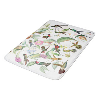 Hummingbird Birds Wildlife Flowers Bath Mat