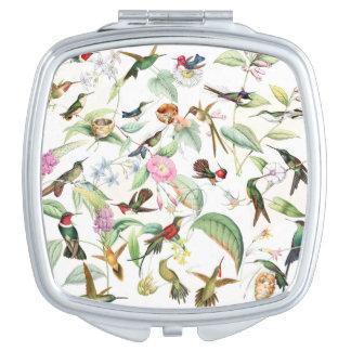 Hummingbird Birds Wildlife Flowers Floral Compact Vanity Mirror