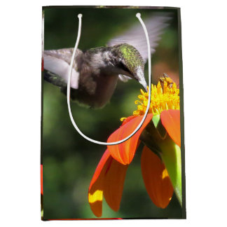 Hummingbird Birds Wildlife Flowers Floral Medium Gift Bag