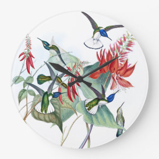 Hummingbird Birds Wildlife Flowers Wall Clock