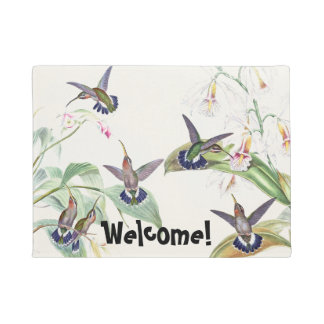 Hummingbird Birds Wildlife Orchid Flowers Doormat
