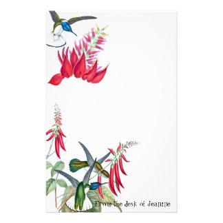 Hummingbird Birds Wildlife Red Flowers Stationery