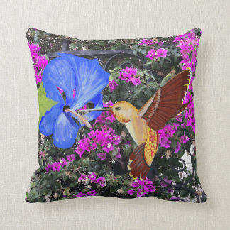 Hummingbird, Blue Hibiscus, & Bougainvillea Throw Pillow