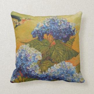 Hummingbird & Blue Hydrangea Throw Pillow