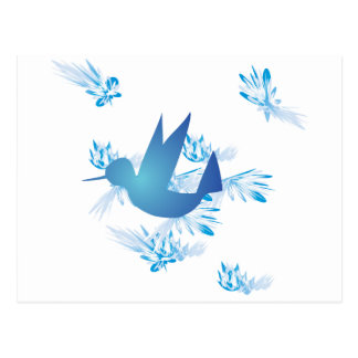 Hummingbird Blue Postcard