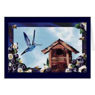 Hummingbird, Blueberries & Bees Card