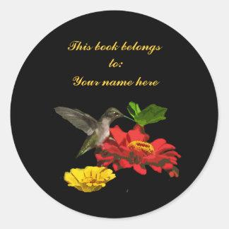 Hummingbird Bookplate Classic Round Sticker