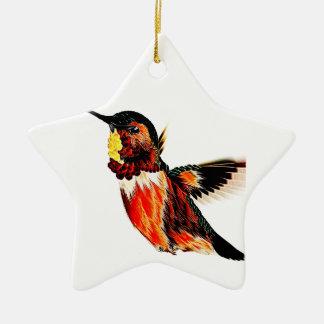 Hummingbird Ceramic Star Ornament