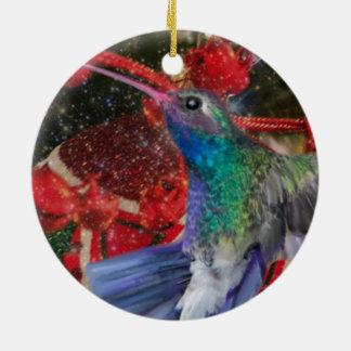 Hummingbird Christmas Ceramic Ornament
