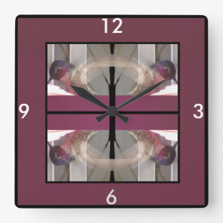 Hummingbird Clock-Home -Cranberry/Gray/White/Black Square Wall Clock