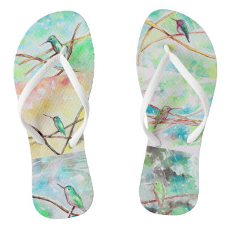 Hummingbird Collection Watercolors Flip Flops