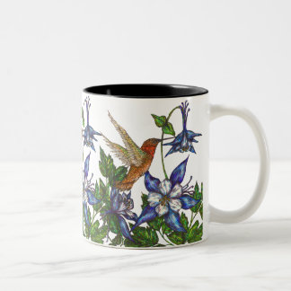 Hummingbird & Columbine Two-Tone Coffee Mug