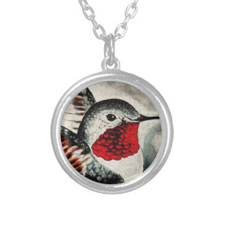 Hummingbird Comic Silver Plated Necklace
