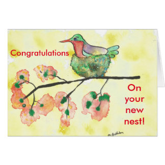 Hummingbird Congratulatons on New Home Card