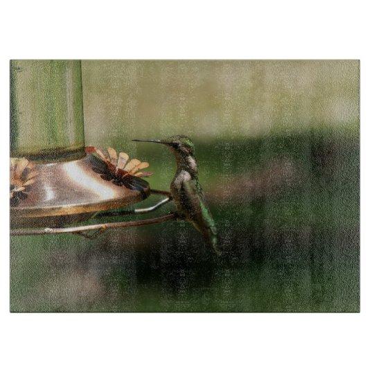 Hummingbird, Decorative Glass Cutting Board. Cutting Board
