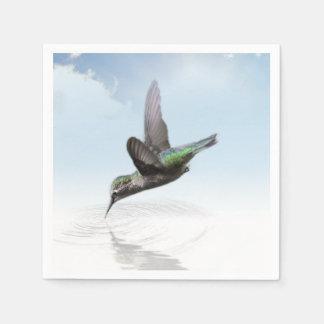 Hummingbird diving into water illustration disposable napkins