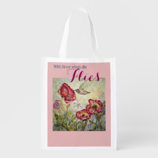 Hummingbird Dragonfly Art Reusable Tote