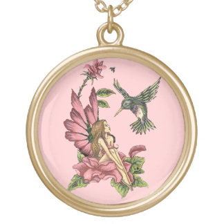 Hummingbird Fairy Gold Plated Necklace