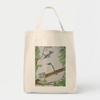Hummingbird Family Feeding Time Grocery Tote Bag