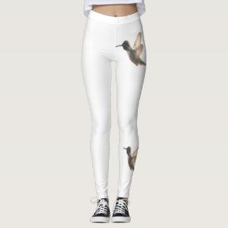 Hummingbird Fashion Leggings--Women-White Leggings