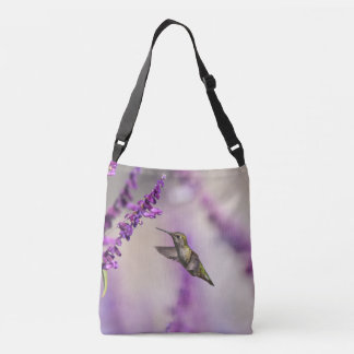 Hummingbird Feeding on Purple Salvia Flower Crossbody Bag