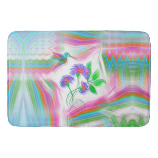Hummingbird Flight Kaleidoscope Bath Mat