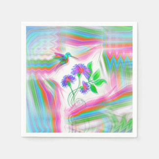 Hummingbird Flight Kaleidoscope Disposable Napkins